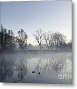 Mountain And Trees Reflected In A Foggy Lake Metal Print