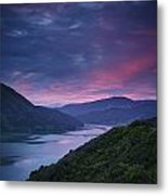 Mountains Along The Coastline Under A Metal Print
