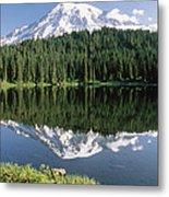 Mt Rainier Reflected In Lake Mt Rainier Metal Print