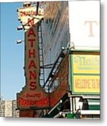 Nathan's Famous At Coney Island  Metal Print
