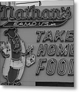 Nathan's Famous In Black And White Metal Print