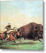 Native American Indian Buffalo Hunting Metal Print