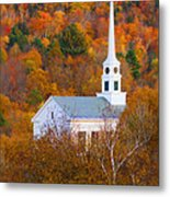 New England Church In Autumn Metal Print