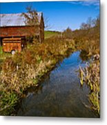 New England Farm In Autumn Scenery Metal Print