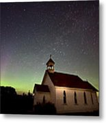 Night Church Northern Lights Metal Print