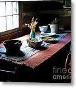 Old Cabin Table Metal Print