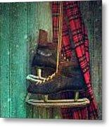 Old Ice Skates Hanging On Barn Wall Metal Print