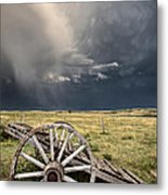 Old Prairie Wheel Cart Saskatchewan Metal Print