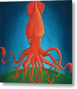 Orange Squid Metal Print
