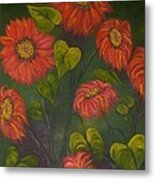 Orange Sunflowers Metal Print