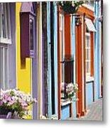Painted Buildings On Main Street In Metal Print