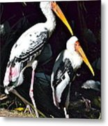 Painted Storks Metal Print