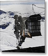 Pallets Are Released From A C-130 Metal Print