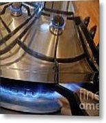 Pan On Gas Hob Metal Print