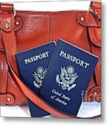 Passports With Orange Purse Metal Print