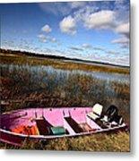 Pink Boat In Scenic Saskatchewan Metal Print