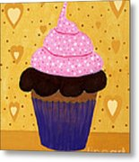 Pink Frosted Cupcake Metal Print