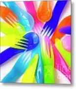 Plastic Cutlery Metal Print