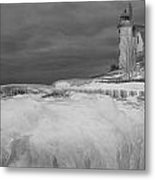 Point Betsie Lighthouse In Winter Metal Print