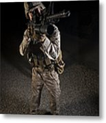 Portrait Of A U.s. Marine In Northern Metal Print