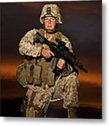 Portrait Of A U.s. Marine In Uniform Metal Print