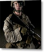 Portrait Of A U.s. Marine Wearing Night Metal Print