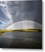 Prairie Hail Storm And Rainbow Metal Print