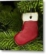 Present Sock Shape Short Bread Cookie In Christmas Tree Metal Print