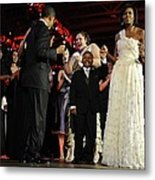 President And Michelle Obama Dance Metal Print