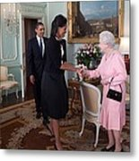 President And Michelle Obama Meet Metal Print by Everett