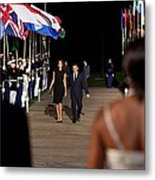 President And Michelle Obama Receive Metal Print by Everett