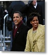 President And Michelle Obama Wave Metal Print by Everett