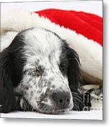 Puppy Sleeping In Christmas Hat Metal Print