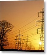 Pylons And Power Lines At Sunset Metal Print