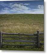 Rail Fence And Field Along The Blue Ridge Parkway Metal Print