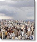 Rain Shower Approaching Downtown Sao Paulo Metal Print by Jeremy Woodhouse