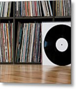 Records Leaning Against Shelves Metal Print by Halfdark