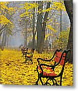 Red Benches In The Park Metal Print by Jaroslaw Grudzinski