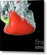 Red Pepper Falling Into Water Metal Print