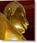Red Roofed Hall With Ornaments And A Tall Golden Buddha Statue Metal Print