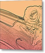 Red Rose Violin Viola Metal Print