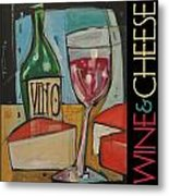 Red Wine And Cheese Poster Metal Print