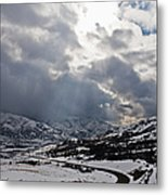 Road Through A Snowy Mountain Landscape Metal Print