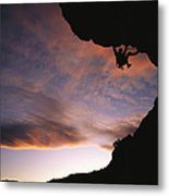 Rock Climbing Out A Steep Roof In Sinks Metal Print