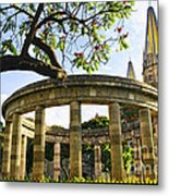 Rotunda Of Illustrious Jalisciences And Guadalajara Cathedral Metal Print