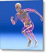 Running Skeleton In Body, Artwork Metal Print