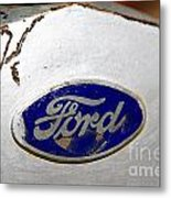Rusted Antique Ford Car Brand Ornament Metal Print