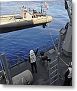 Sailors Lower A Rigid Hull Inflatable Metal Print