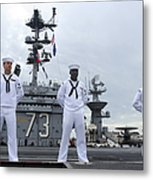 Sailors Man The Rails Aboard Metal Print