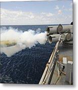 Sailors Observe A Mk-46 Recoverable Metal Print